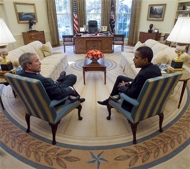 George W Bush och president Obama