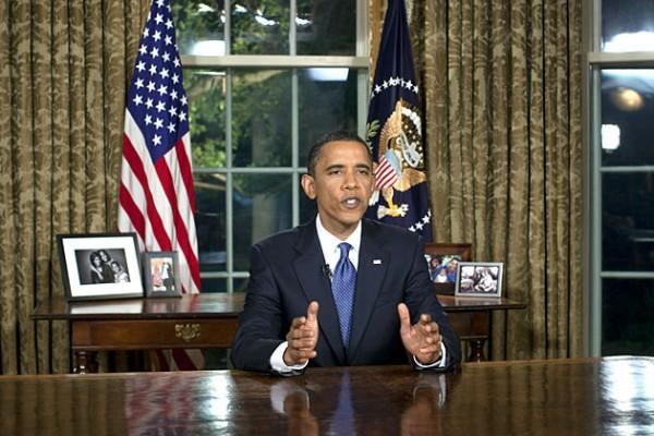 President Obama talar från Vita huset, Oval Office