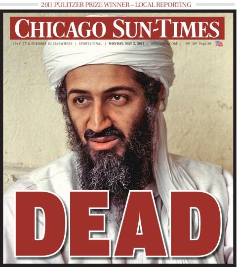 Chicago Sun Times bin Laden död förstasida