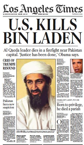 LA Times förstasida. Osama bin Laden