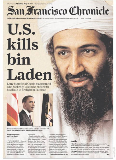 San Francisco Chronicle förstasida. Osama bin Laden död.