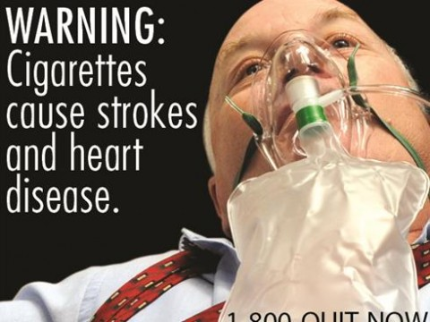 Varningsbild på cigarettpaket i USA