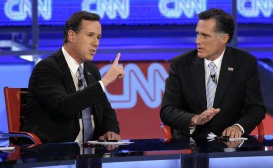 Rick Santorum och Mitt Romney debatterar